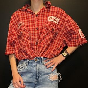 Vintage Coca Cola Red Button Down with Patches